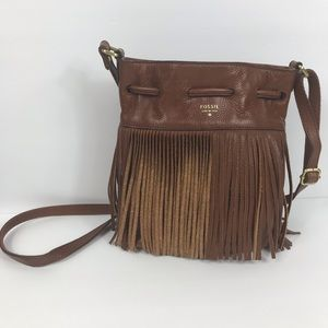Fossil Jules Fringed Leather Crossbody Bag
